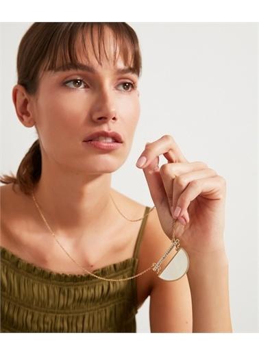 Ipekyol Ipekyol Is1210051018265 Yarım Ay Plakalı Taşlı Uzun Kadın Kolye Renkli